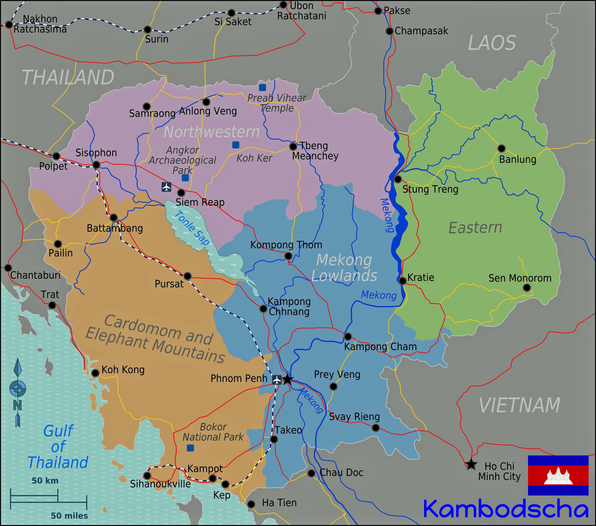 Vietnam Tours - Karte von Kambodscha